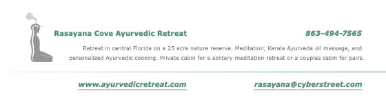 Retreat in central Florida on a 25 acre nature reserve. Meditation, Kerala Ayurveda oil massage, and personalized Ayurvedic cooking. Private cabin for a solitary meditation retreat or a couples cabin for pairs.